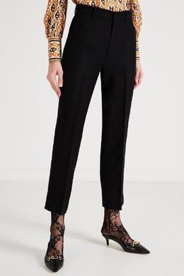 Укороченные брюки из шерсти и шелка Gucci 470175197