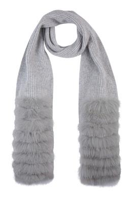Вязаный серый шарф с меховой отделкой Max & Moi 2919174600