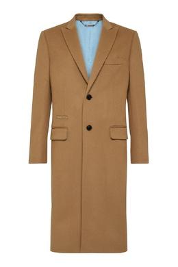 Однобортное пальто верблюжьего цвета Philipp Plein 1795175362