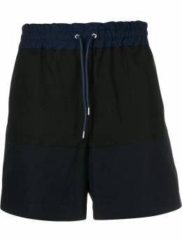 Sacai шорты с кулиской и контрастными вставками 1901894M