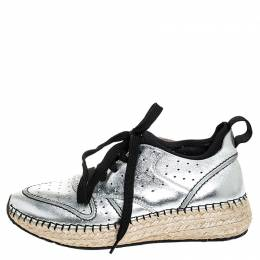 Tod's Metallic Silver Leather Espadrille Low Top Sneakers Size 35.5 Tod's
