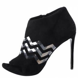 Nicholas Kirkwood Black Suede And PVC Chevron Peep Toe Ankle Booties Size 40 254760