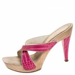 Casadei Pink Croc Embossed Leather Open Toe Platform Sandals Size 37.5