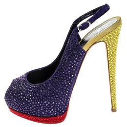 Giuseppe Zanotti Design Tri Color Suede Crystal Embellished Peep Toe Platform Slingback Sandals Size 40