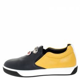 Fendi Mulitcolor Leather Face Detail Slip On Sneakers Size 40
