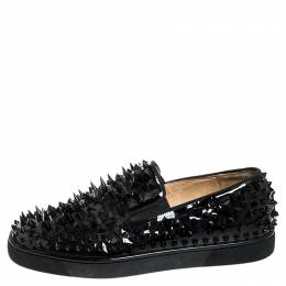 Christian Louboutin Black Patent Leather Pik Spiked Slip On Sneakers Size 42.5