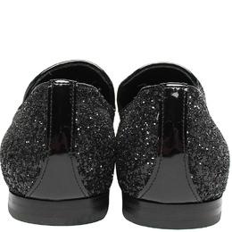 Jimmy Choo Metallic Black Glitter Slip On Loafers Size 41.5