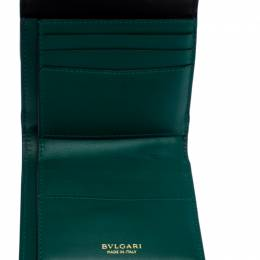 Bvlgari Black Leather Serpenti Forever Compact Wallet