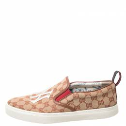 Gucci Beige/Brown GG Canvas MLB Ny Yankees Slip On Sneakers Size 43