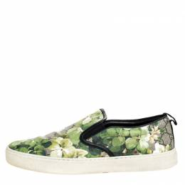 Gucci Multicolor GG Supreme Blooms Printed Canvas Slip On Sneakers Size 42