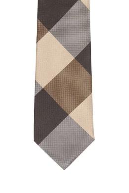Бежевый галстук в крупную клетку Burberry 10169607