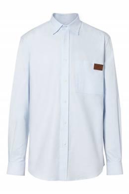 Светло-голубая рубашка из хлопка с кожаной деталью Burberry 10169574
