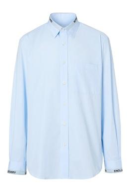 Голубая рубашка с логотипом на воротнике Burberry 10169513