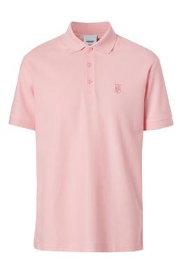 Розовая футболка-поло с вышитой монограммой Burberry 10169393