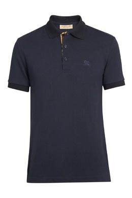 Темно-синяя футболка с монограммой и клеткой Vintage Check Burberry 10169464