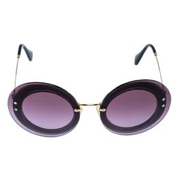 Miu Miu Gold Tone/ Purple Gradient SMU 10R Round Sunglasses