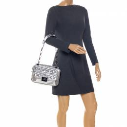 Karl Lagerfeld Metallic Silver Quilted Leather Flap Shoulder Bag