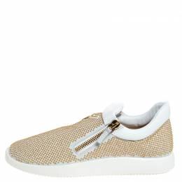 Giuseppe Zanotti Design White Leather Gold Studded Platform Slip On Sneakers Size 41