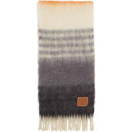 Loewe Orange and Grey Mohair Scarf 910.10.207