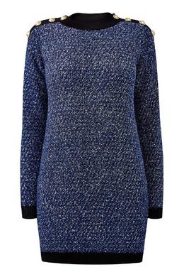 Короткое платье из твида Balmain 88177640