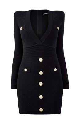 Короткое платье черного цвета Balmain 88177642