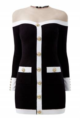 Черно-белое платье с прозрачной вставкой Balmain 88177648