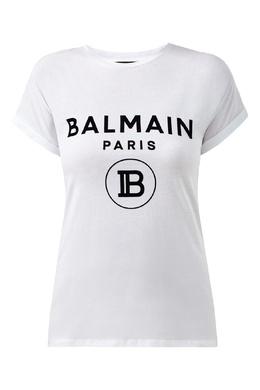 Футболка с бархатным логотипом Balmain 88177677