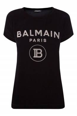 Черная футболка из бархата Balmain 88177671