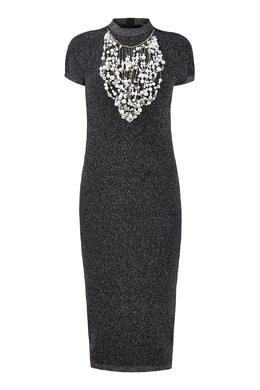 Темно-серое платье с украшениями Balmain 88177649