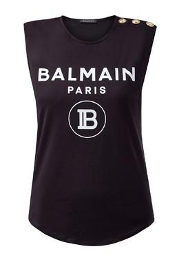 Черный топ с логотипом Balmain 88177669