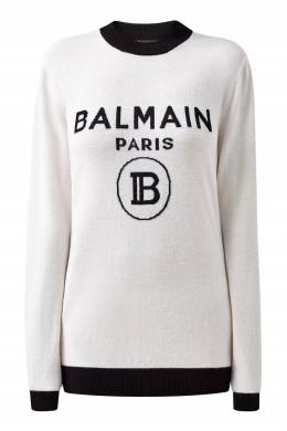 Белый джемпер с контрастной отделкой Balmain 88177614