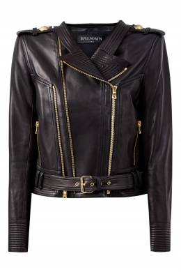 Короткая кожаная куртка Balmain 88177626