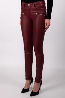 Бордовые кожаные брюки Philipp Plein 1795177095