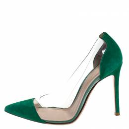 Gianvito Rossi Green Suede and PVC Plexi Pointed Toe Pumps Size 38.5
