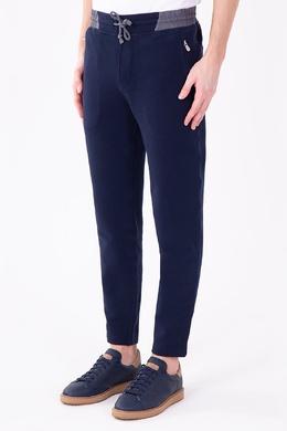 Синие брюки с эластичной серой вставкой Brunello Cucinelli 1675178639