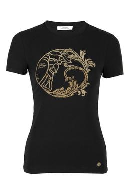 Футболка черного цвета с логотипом Versace Collection 1222178428
