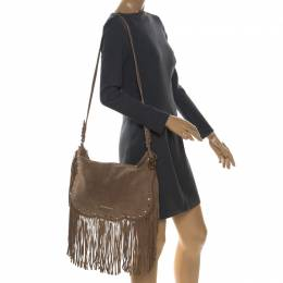 MICHAEL Michael Kors Light Brown Suede Dakota Fringe Shoulder Bag