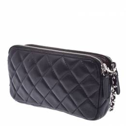 Chanel Black Quilted Leather Clutch Bag