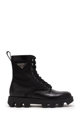Высокие ботинки со вставками из текстиля Prada 40179453