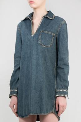 Синее джинсовое платье с заклепками Saint Laurent 1531180034