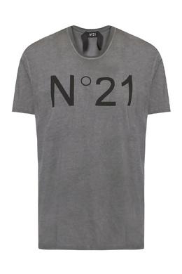 Серая футболка с логотипом No. 21 35180710