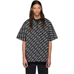 Vetements Black STAR WARS Edition All Over Logo Short Sleeve Shirt USW21SH030