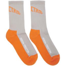 Heron Preston Grey and Orange Logo Socks HMRA002S207690260519