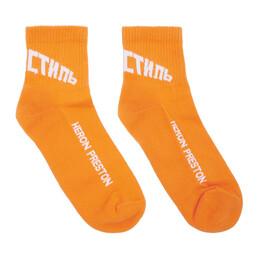 Heron Preston Orange and White Logo Socks HMRA005S207690261901
