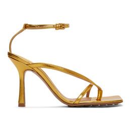 Bottega Veneta Gold Stretch Heeled Sandals 608835 VBSI0