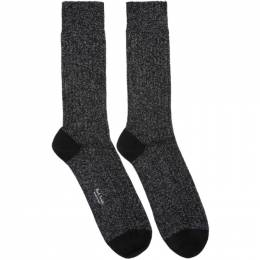 Paul Smith Black and Silver Glitter Rib Socks M1A-800E-AF108