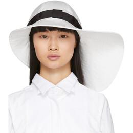 Sacai White Wide Brim Beach Hat 20-0069S
