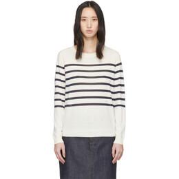 A.P.C. White Wool Striped Cordelia Sweater WVAXN-F23941