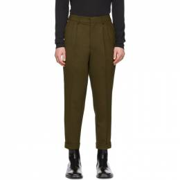 Ami Alexandre Mattiussi Green Wool Pleated Carrot Trousers P20HT402.254