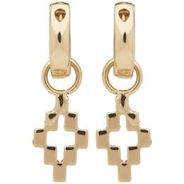 Marcelo Burlon County Of Milan Gold Cross Pendant Earrings CMOD001S20MET0017600